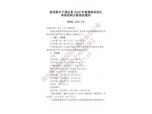 湖北省2020高考分数线:本科一批文史531 理工521